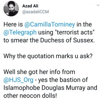 backlash against Camilla Tominey on her terror accusations