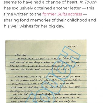 Thomas Markle Jr writes letter asking for wedding invite 1