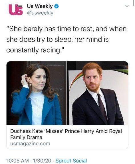 Kate Middleton misses Harry