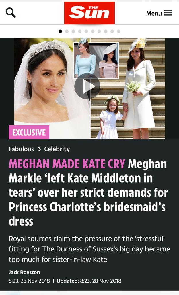 The Sun claims Meghan made Kate cry