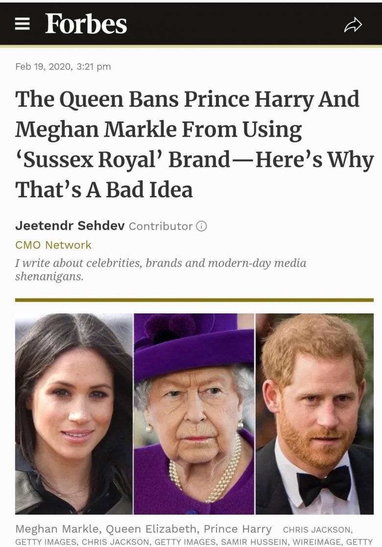Queen bans Harry and Meghan from using Sussex Royal