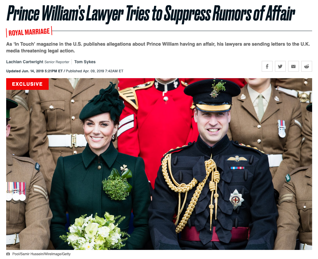 Prince William's lawyer tries to suppress rumors of affair