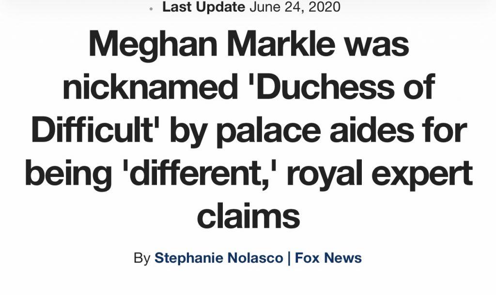 Meghan Markle branded Duchess Difficult