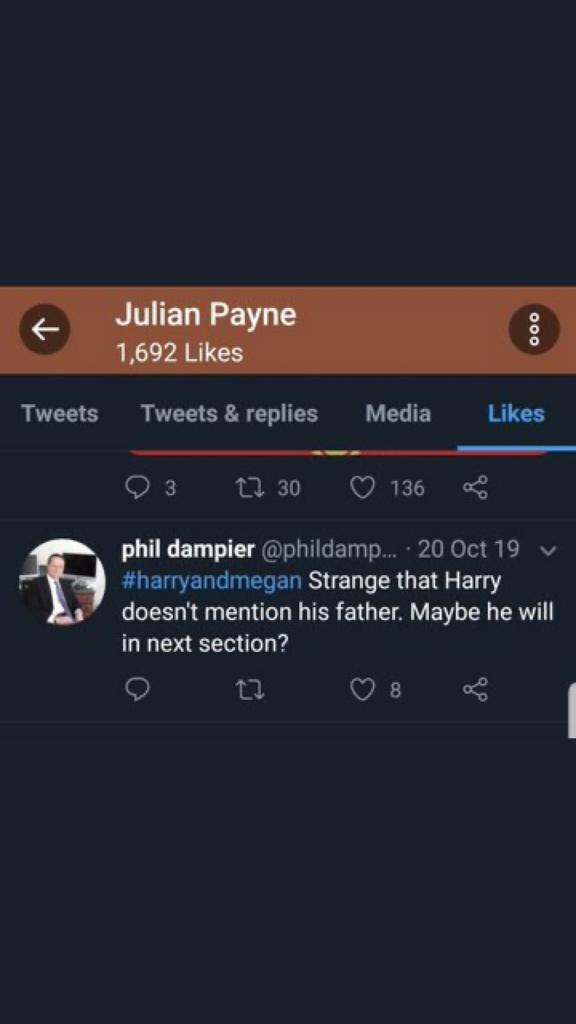 Julian Payne likes anti-Meghan tweets