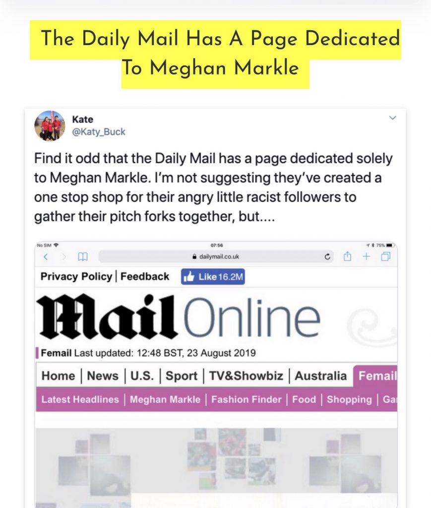The Daily Mail has Meghan Markle category