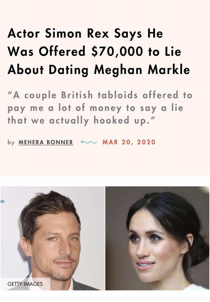 Actor Simon Rex offered money to lie about Meghan
