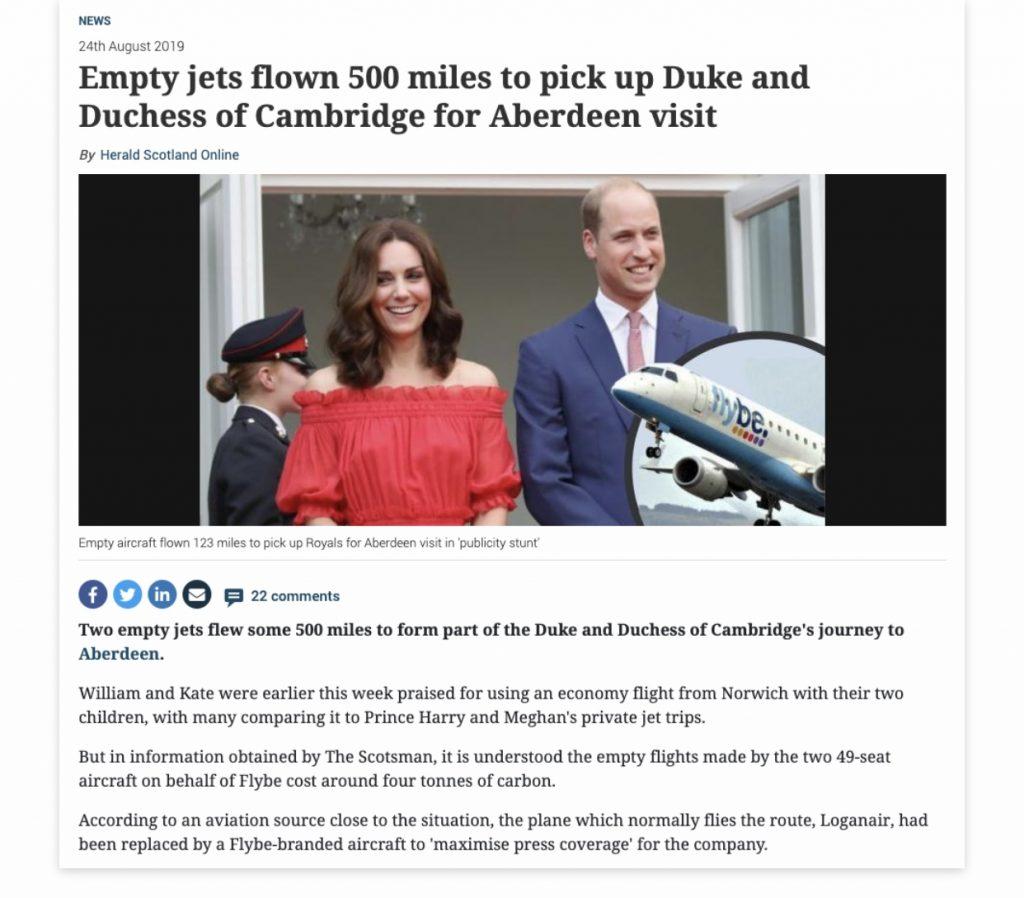 Empty flight stunt William and Kate