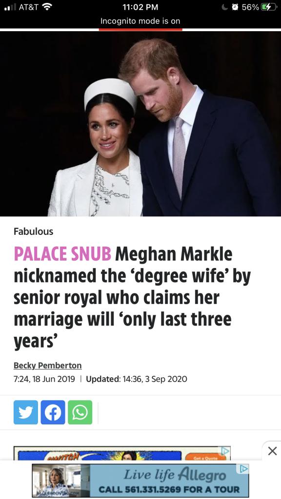 Meghan Markle branded Degree Wife