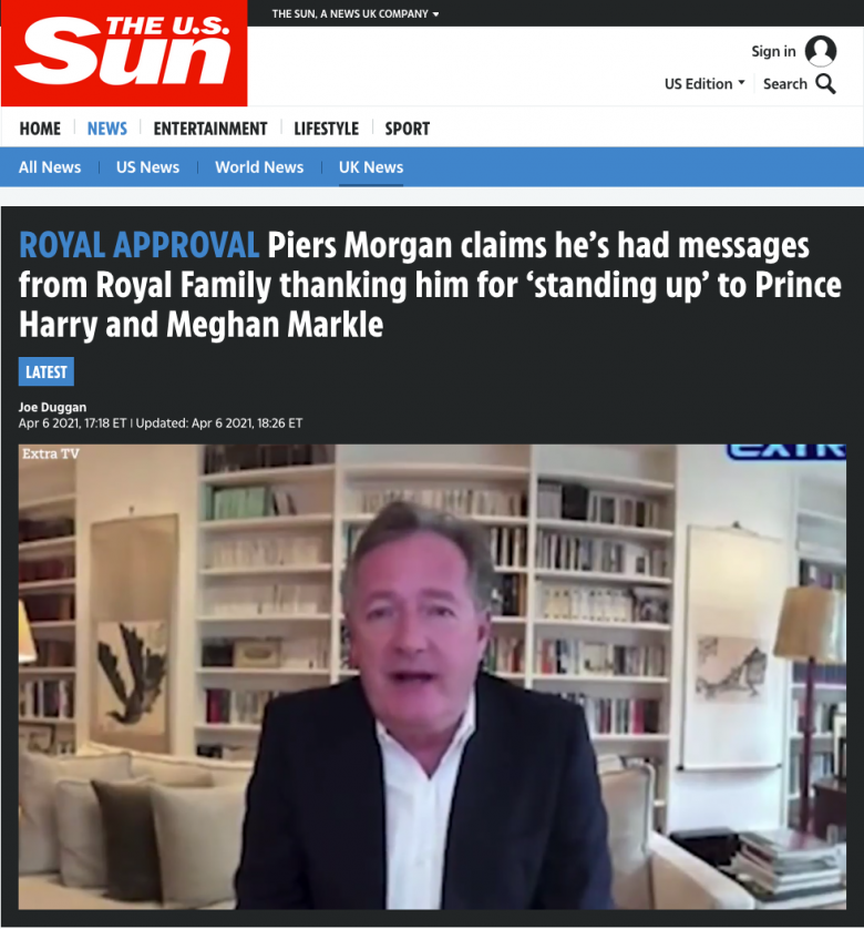 The Royal Family Thanked Piers Morgan for Bullying Meghan